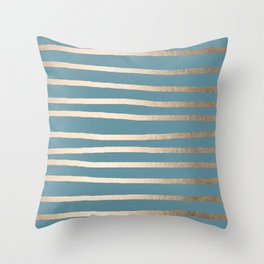 Abstract Drawn Stripes Gold Tropical Ocean Blue Throw Pillow