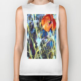Abstract Poppies Biker Tank