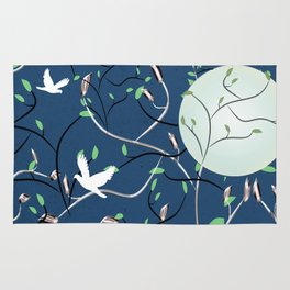 Art Nouveau Moon with Doves (Blue and Silver) Rug