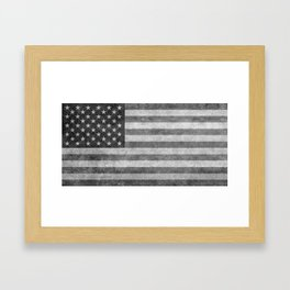American flag - retro style in grayscale Framed Art Print