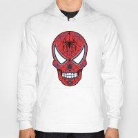 superheros Hoodies featuring Spidey Sugar Skull by Clark Street Press