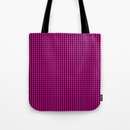 Small Hot Neon Pink and Black Gingham Check Tote Bag