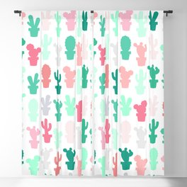 Pastel Mint and Pink Cactus Print Blackout Curtain