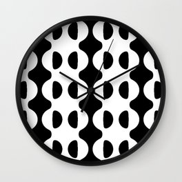 BLACK AND WHITE GEOMETRIC WAVES AND HALF CIRCLE Wall Clock