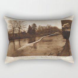 Elasmosaurus Dinosaur Attacking Bridge Rectangular Pillow