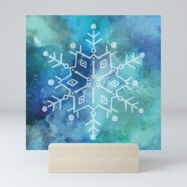 Snowflake on Blue Textured Watercolour Abstract Painting Mini Art Print