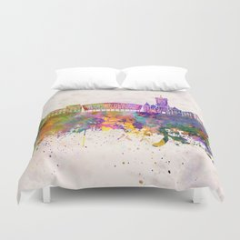 Cardiff skyline in watercolor background Duvet Cover