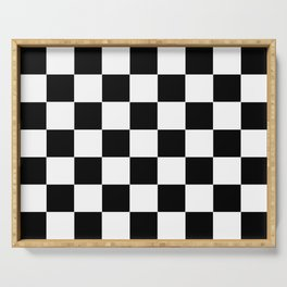 Traditional Black And White Chequered Start Flag Serving Tray