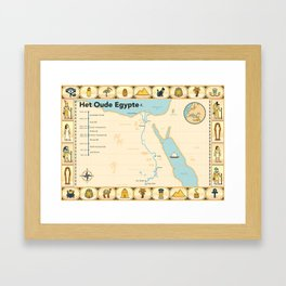 Geïllustreerde kaart van Het Oude Egypte Framed Art Print