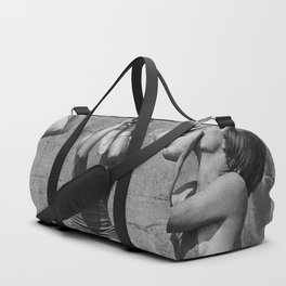 What the girls drink when the guys aren't looking - three girlfriends drinking at the beach black and white photograph Duffle Bag