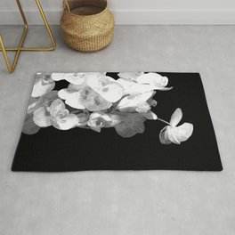 White Orchids Black Background Rug