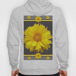 YELLOW & GREY  ART COREOPSIS FLOWERS Hoody