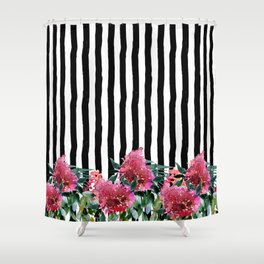 Black white brushstrokes pink watercolor floral stripes Shower Curtain