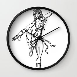 purple sash black and white Wall Clock