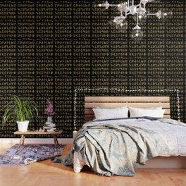ARMENIAN ALPHABET - Black and Gold Wallpaper