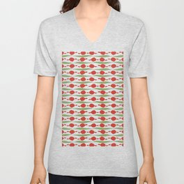 Minimalist Holiday Pattern of Dots and Stripes in Christmas Red and Green Unisex V-Neck