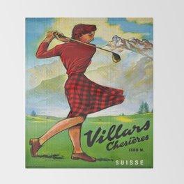 Vintage Villars Switzerland Golf Travel Poster Throw Blanket