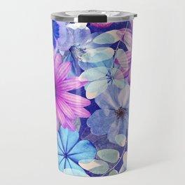 Dark pink and blue floral pattern Travel Mug