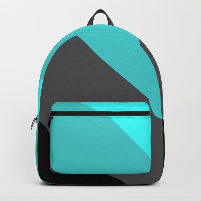 Aqua Gray Chevron Stripes Backpack