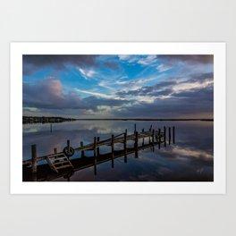 colington broken dock sunrise Art Print