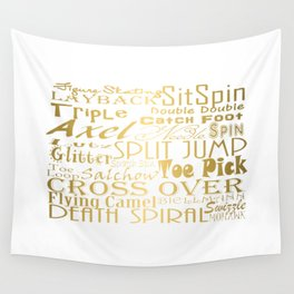 Figure Skating Subway Style Typographic Design Gold Foil Wall Tapestry