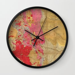 Vintage Geological Map of Colorado (1879) Wall Clock