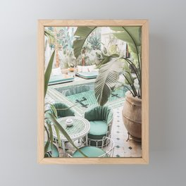 Travel Photography Art Print | Tropical Plant Leaves In Marrakech Photo | Green Pool Interior Design Framed Mini Art Print
