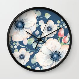 Summer Flowers Blue #society6 #buyart Wall Clock