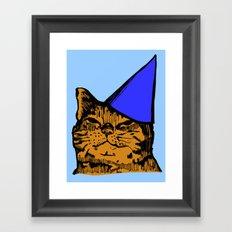 Party Cat (Blue Version) Framed Art Print