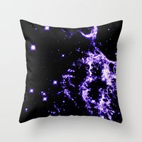 cosmic Throw Pillows featuring COSMIC Electricity Purple by 2sweet4words Designs