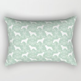 Cocker Spaniel mint and white minimal floral florals silhouette dog pattern Rectangular Pillow
