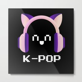 K-Pop Fan Headphones Metal Print