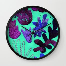 tropical leaves embroidered pattern Wall Clock