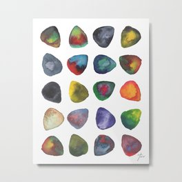 Guitar Picks Watercolor Metal Print