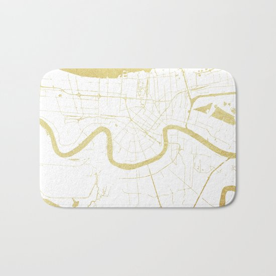 New Orleans White and Gold Map Bath Mat