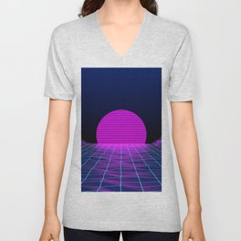 Retro style 1980s abstract synthwave grid digital art vector CGI Sun Digital Grid  Unisex V-Neck