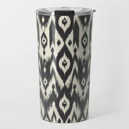 Black & Cream Tribal Ikat Travel Mug