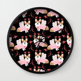 Corgi cupid costume valentines day dog breed pet art welsh corgis gifts Wall Clock
