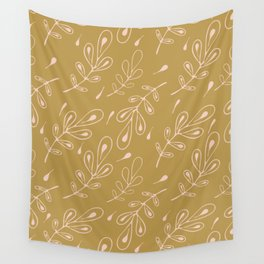 Retro Leaves Lineart Seamless Pattern, Hand Drawn Nature Wall Tapestry