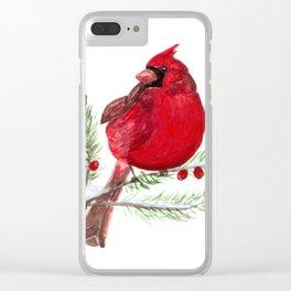 Cardinal Christmas Art Clear iPhone Case