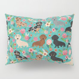 Dachshund florals flower pet portrait dog art dachsie doxie pet art dog breeds Pillow Sham