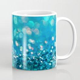 Teal turquoise blue shiny glitter print effect - Sparkle Luxury Backdrop Coffee Mug
