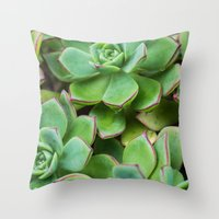 succulents Throw Pillows featuring Succulents by Michelle McConnell