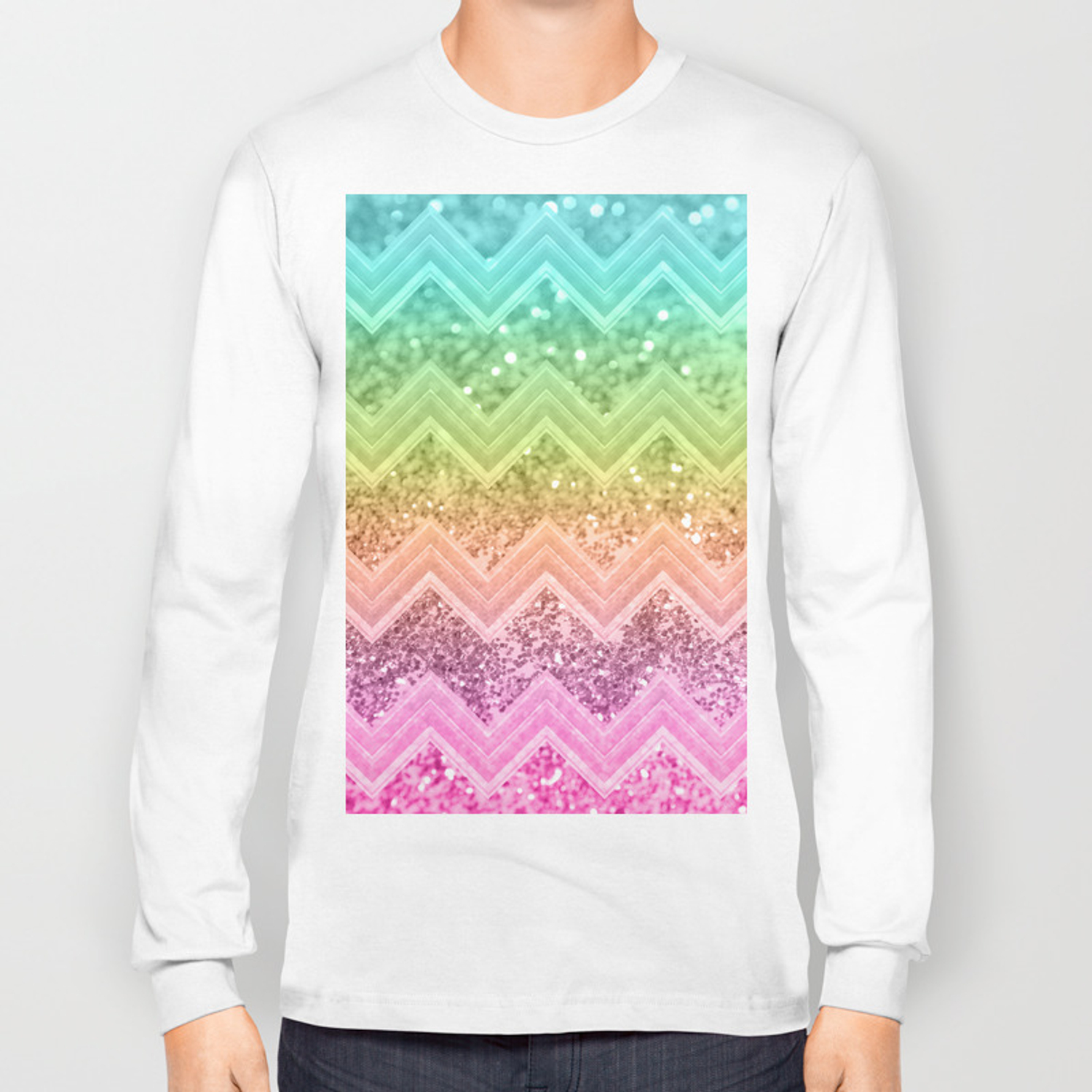 f0a0b524d247 Rainbow Glitter Chevron #1 #shiny #decor #art #society6 Long Sleeve T-shirt.  by