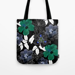 Botanical Bliss Black Tote Bag