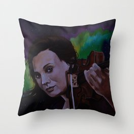 The violinist of the Northern Lights Throw Pillow