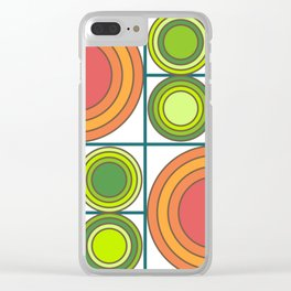 70s Sunflower on white Clear iPhone Case
