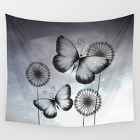 butterflies Wall Tapestries featuring Butterflies by LouJah
