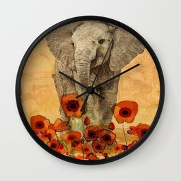 Elephant In the Poppies Wall Clock