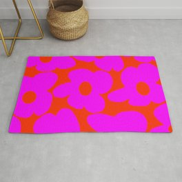Pink Retro Flowers Orange Red Background #decor #society6 #buyart Rug